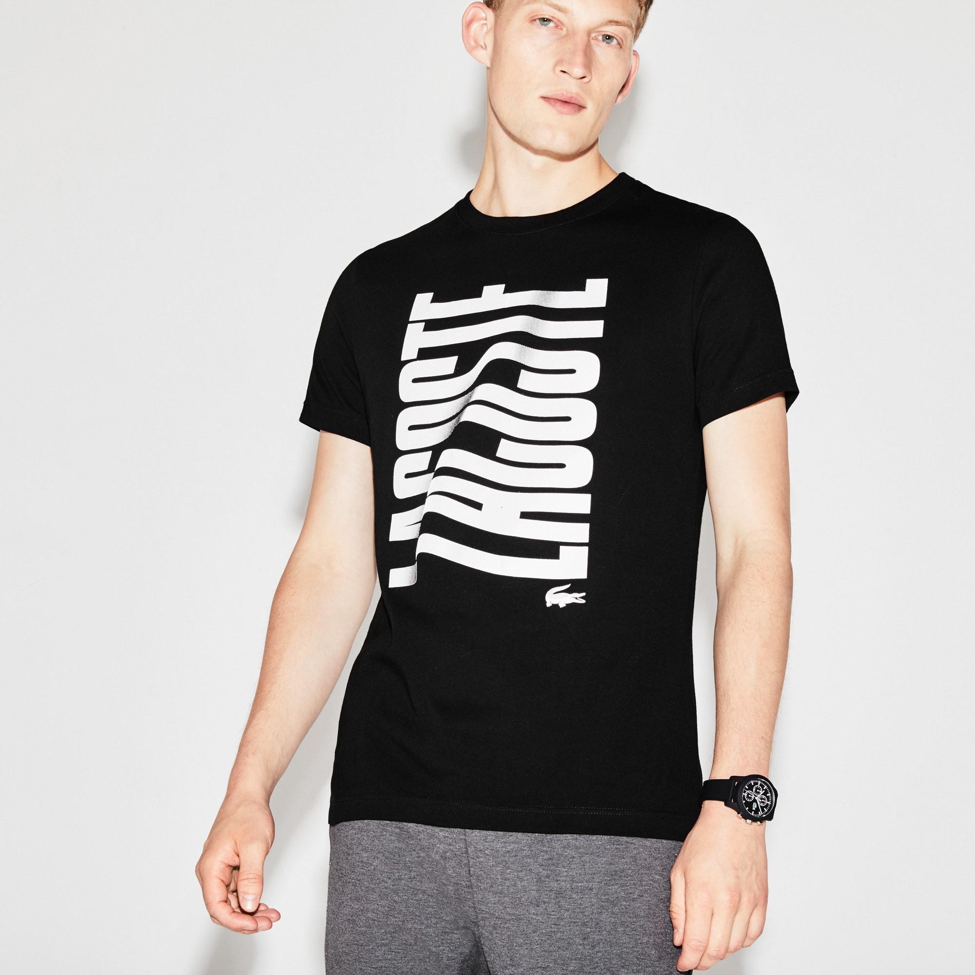 5cdb7b32d78 Lacoste Men's Sport Tennis Print Tech Jersey T-Shirt In Black/White ...