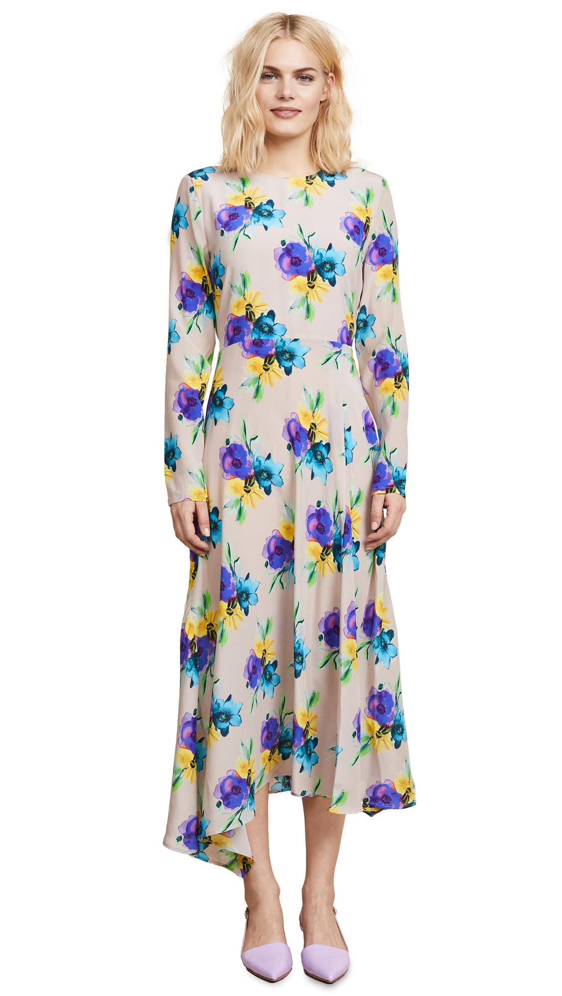 Msgm Silk Printed Dress In Multi