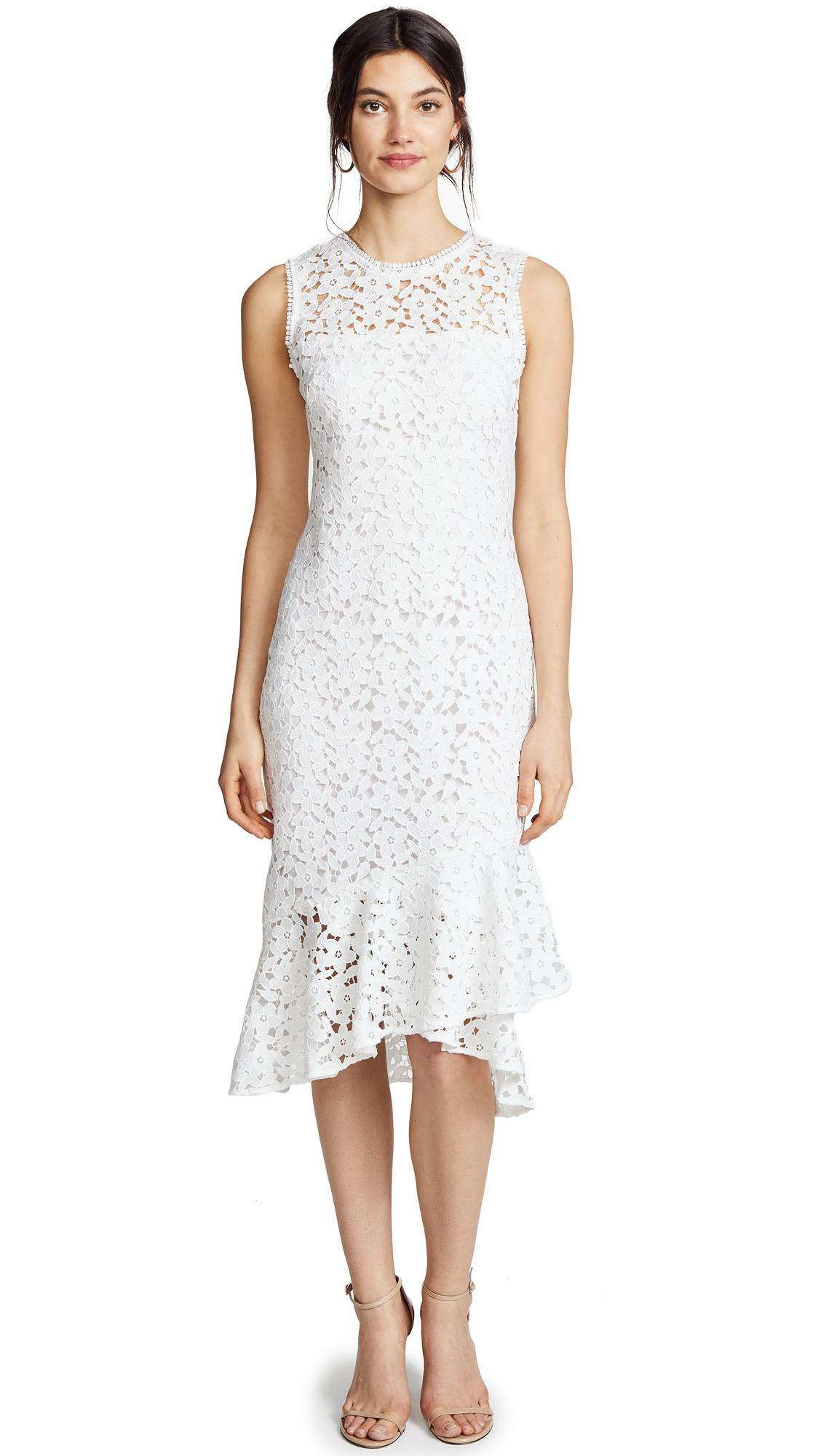 Carlita Sleeveless Asymmetric Lace Dress In Off White