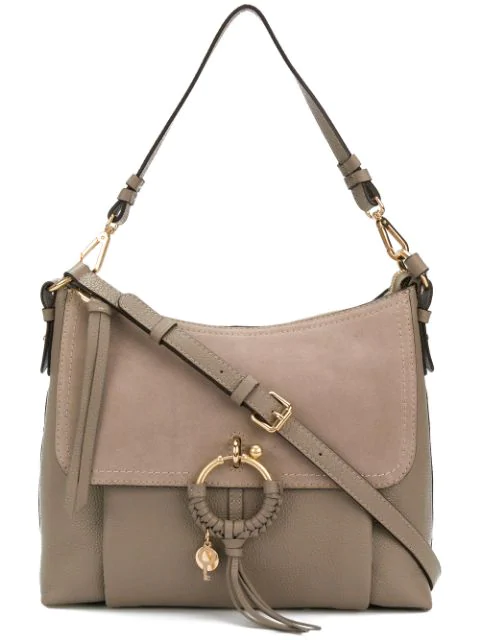 See By ChloÉ Joan Medium Suede-paneled Textured-leather Shoulder Bag In Gray