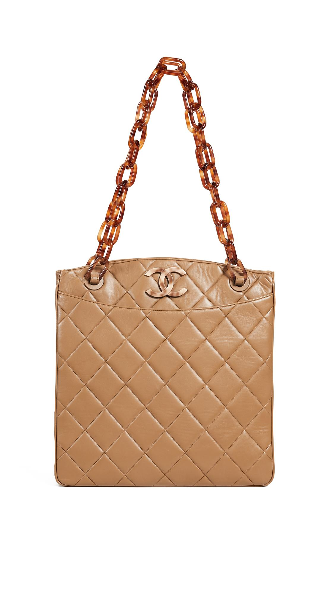 de64a78f4a10 What Goes Around Comes Around Chanel Lambskin Turnlock Medium Tote Bag In  Brown