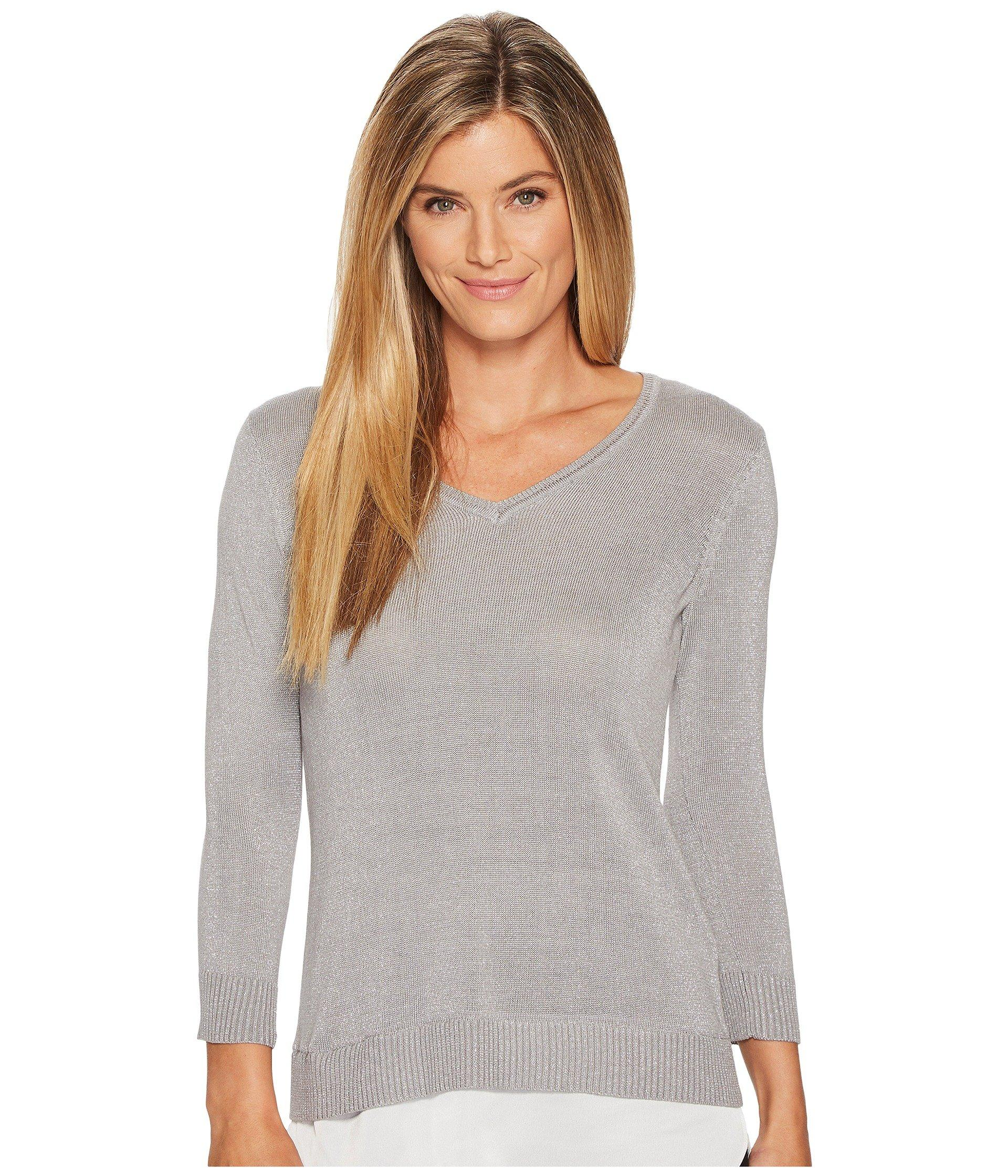 7058a9b8afb Long Sleeve Lurex Twofer Sweater in Heather Granite