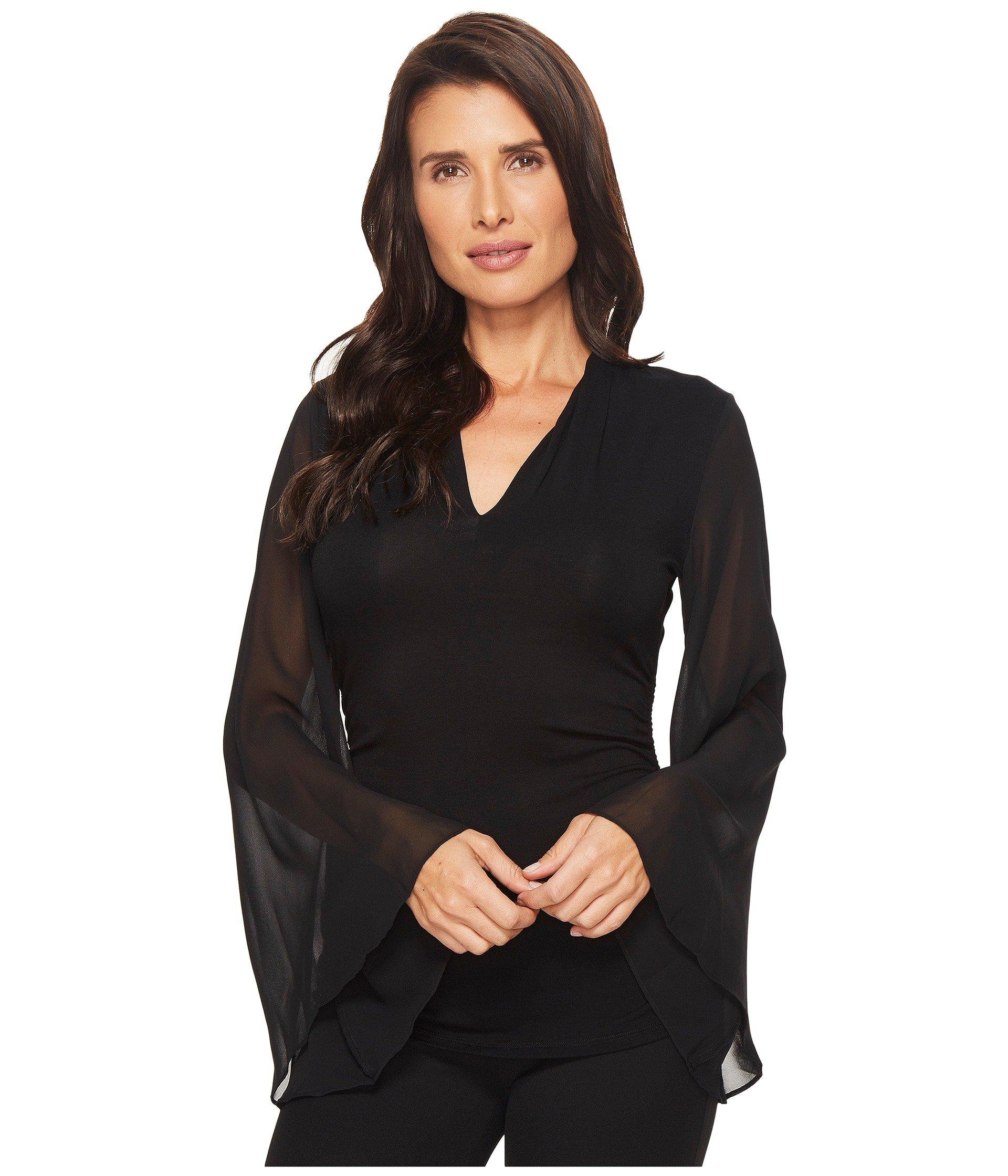Vince Camuto Chiffon Bell Sleeve Side Ruched Top In Rich Black