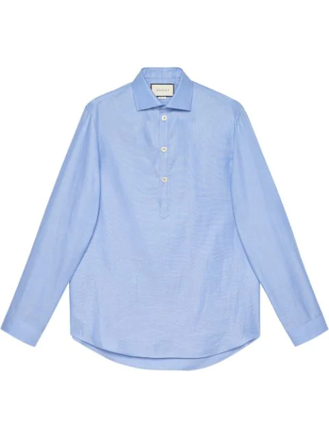 Gucci Cropped Button Down Shirt In Blue