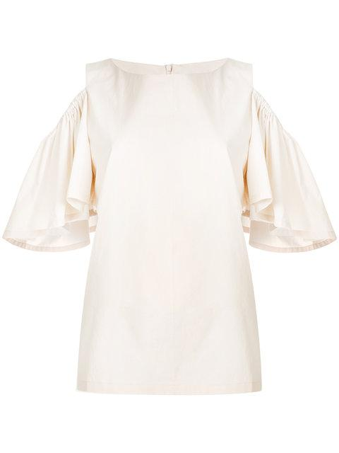 Neul Pleated Sleeve Top In Neutrals