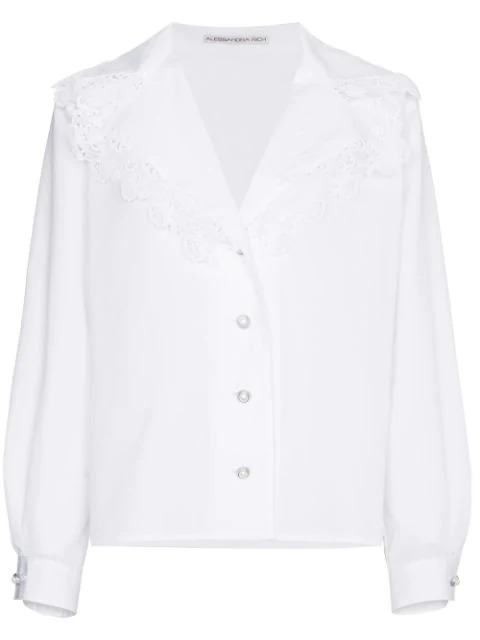 Alessandra Rich Lace-Trimmed Cotton-Poplin Shirt In White