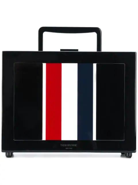 Thom Browne Rwb Stripe Plexiglass Lunchbox Bag In Black