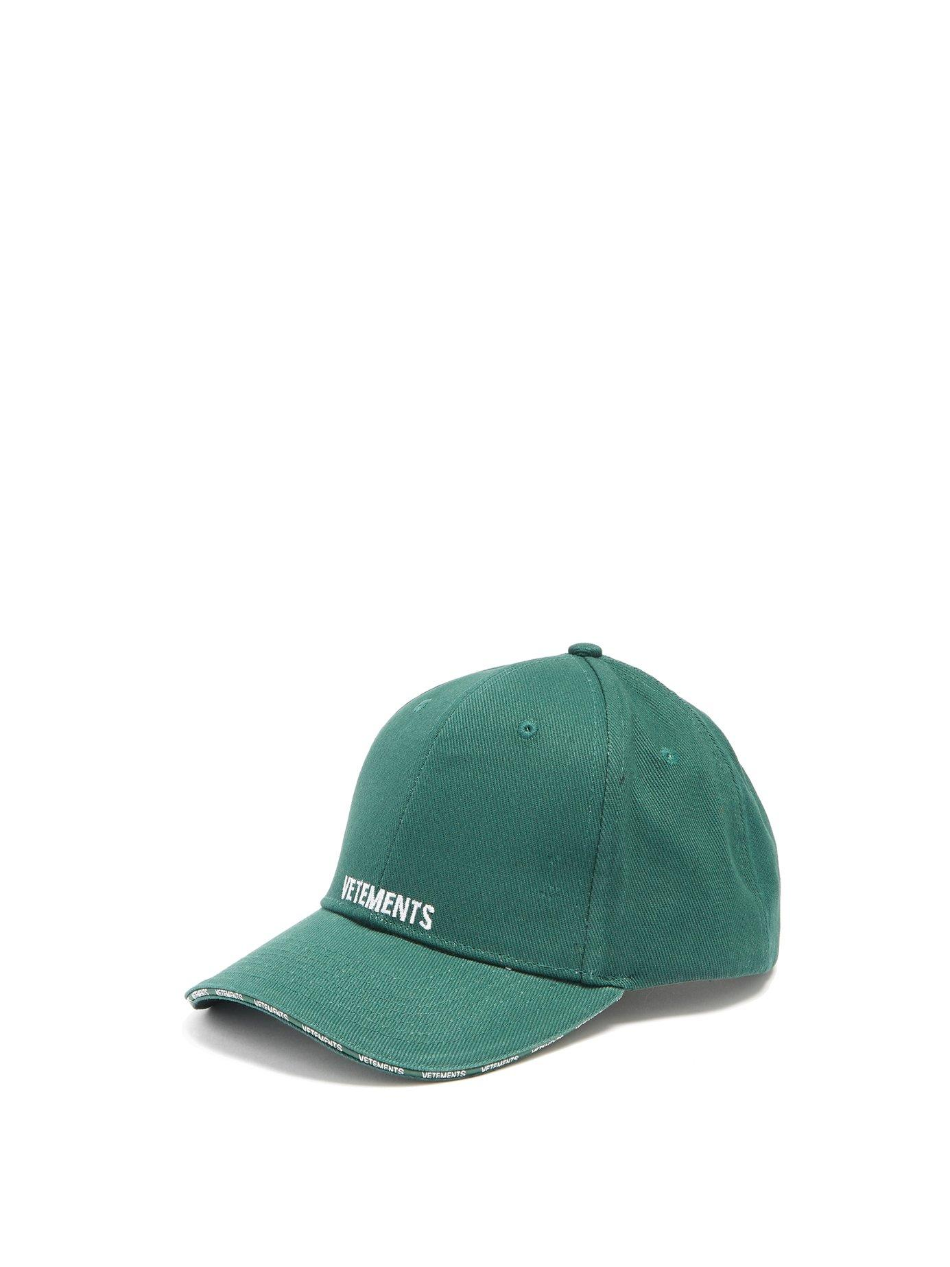 16ab6aabaaf98a Vetements Logo-Embroidered Cotton Cap In Green   ModeSens