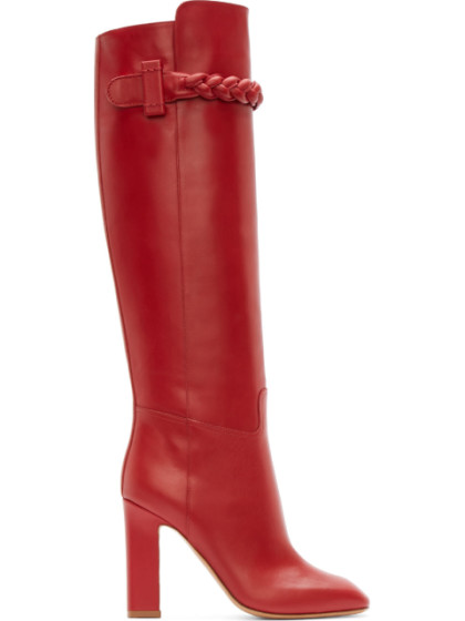 Valentino Garavani Red Leather Braided Appliqué Tall Runway Boots