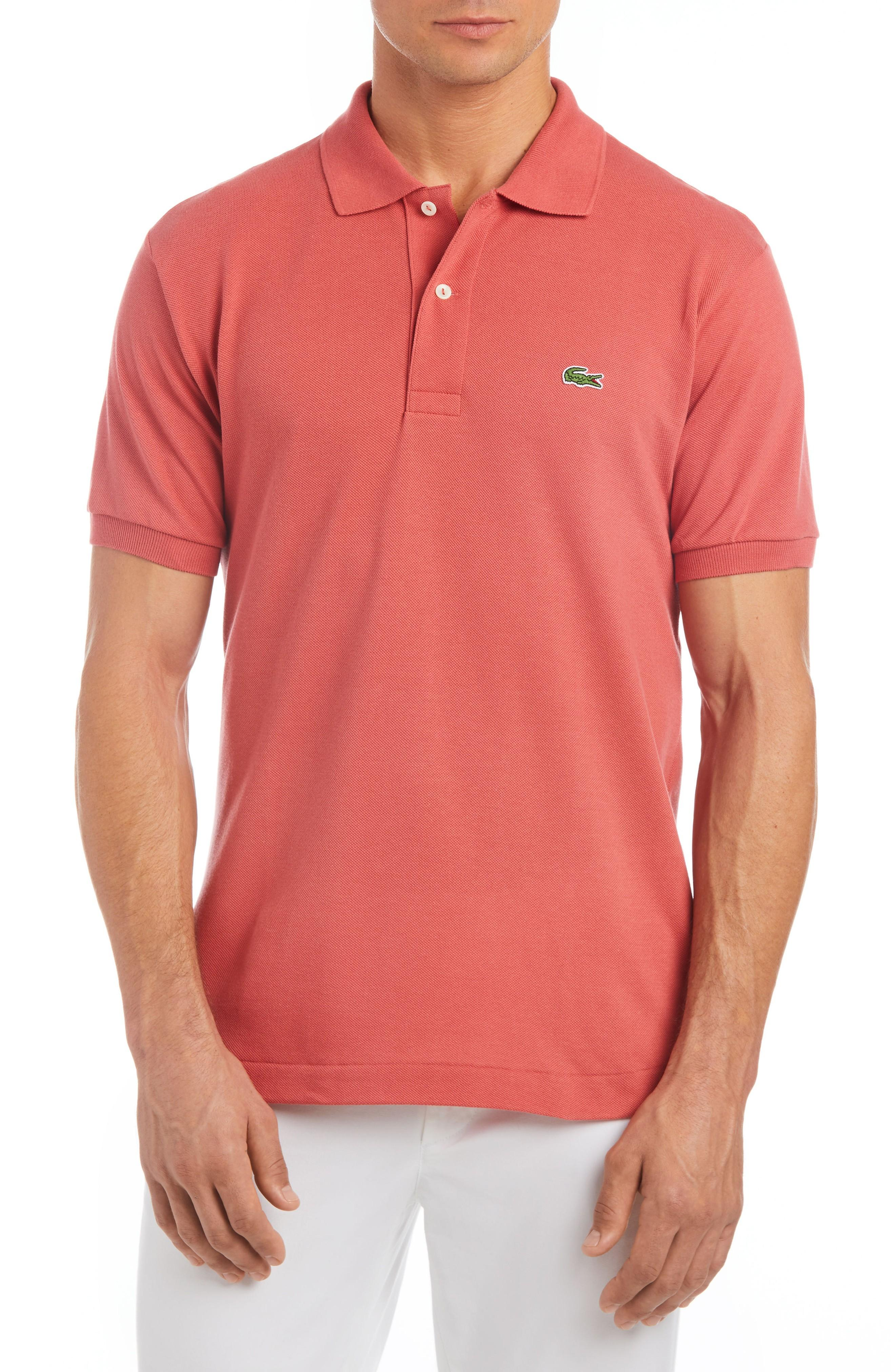 1d703593d45d Lacoste Short Sleeve Pique Polo Shirt - Classic Fit In Sierra Red ...