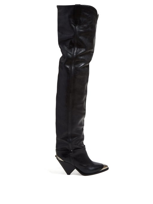 b388bb25705 Isabel Marant Lafsten Leather Over-The-Knee Boots In Black
