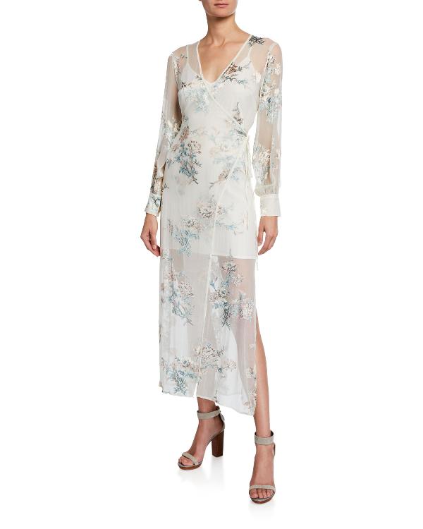 Astr Riley Floral Print Wrap Maxi Dress In Multi