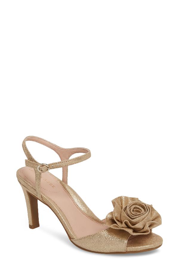 af8557de0a2 Taryn Rose Jacklyn Flower Sandal In Gold Shimmer Fabric. Nordstrom