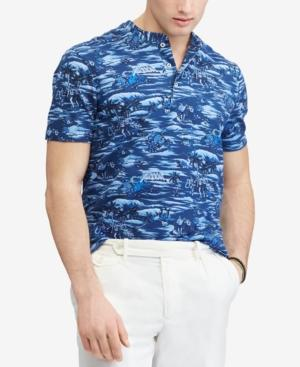 f8eb59e72 Polo Ralph Lauren Men's Big & Tall Featherweight Mesh Henley Shirt In  Indigo Mini Island Hawaiian
