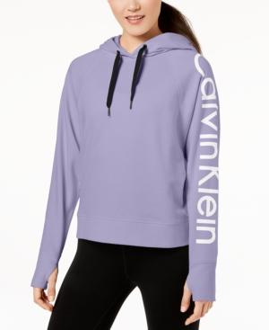Calvin Klein Performance Relaxed Logo Hoodie In Iris Ice