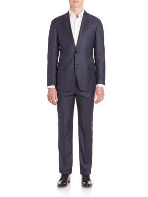 Giorgio Armani Sharkskin Wool Suit In Midnight
