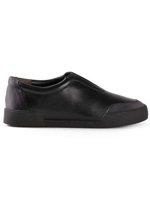 Morgan Leather Sneakers In Black - Navy