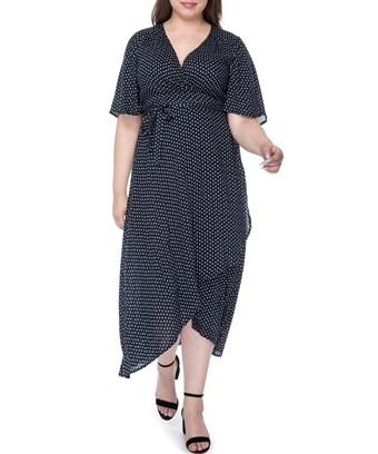 Bobeau Orna Plus Size Wrap Dress In Navy Polka Dot