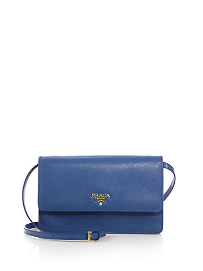 Prada Saffiano Lux Crossbody Bag In Azzurro-Blue