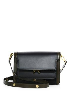 Marni Triple-Gusset Leather Crossbody Bag In Black
