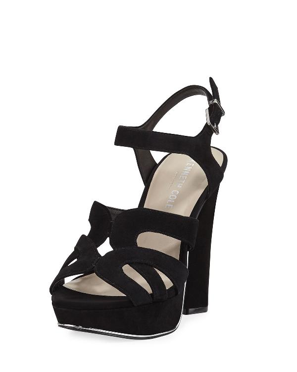 Kenneth Cole Women's Nealie Suede High-Heel Platform Sandals In Black