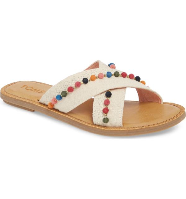 fd48b244e32 Toms Women s Viv Hemp   Leather Crisscross Slide Sandals In Natural Hemp   Pom Poms
