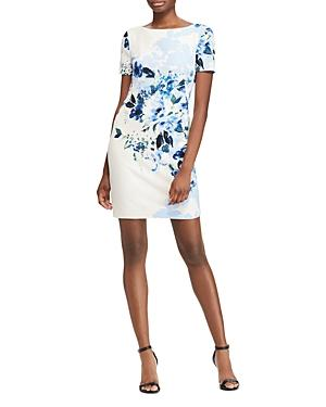 Ralph Lauren Lauren  Floral Sheath Dress In Cream/Blue/Multi