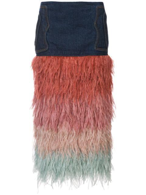 Johanna Ortiz A Visit To Fairyland Multicolor Tiered Ostrich-feather & Denim Midi Skirt, Blue