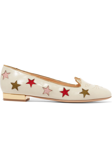 Charlotte Olympia Kitty Cutout Embroidered Leather Slippers In White
