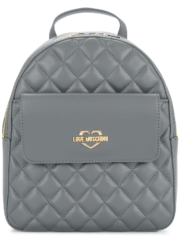 387219a4c5 Love Moschino Small Quilted Backpack - Grey | ModeSens