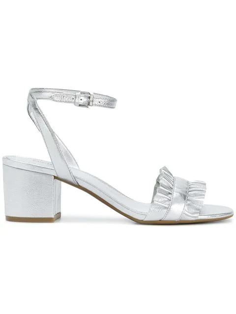 0355dad1047 Michael Michael Kors Bella Flex Mid Sandals In Silver Metallic Nappa ...