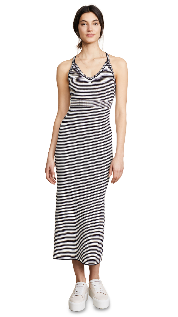 CourrÈGes Long Striped Metallic Dress In Navy/Ivory
