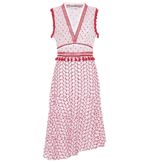 Altuzarra Eiffel Cotton Midi Dress In Red