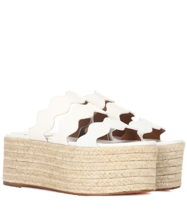 bfc55e3c3545 ChloÉ Lauren Scalloped Suede And Textured-Leather Espadrille Platform  Slides In White