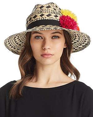 aab26de415494 Helene Berman Pom-Pom Trim Geometric Panama Hat In Natural Black ...