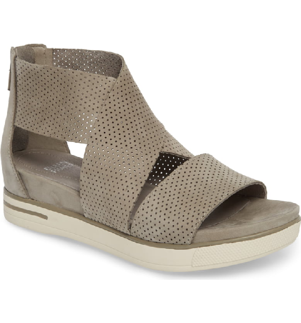 504c5d8eb0 Eileen Fisher Womens' Sport Perforated Nubuck Leather Platform Sandals In  Stone Nubuck
