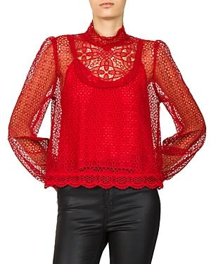e474a759903 The Kooples Vintage Sheer Lace Top In Red | ModeSens