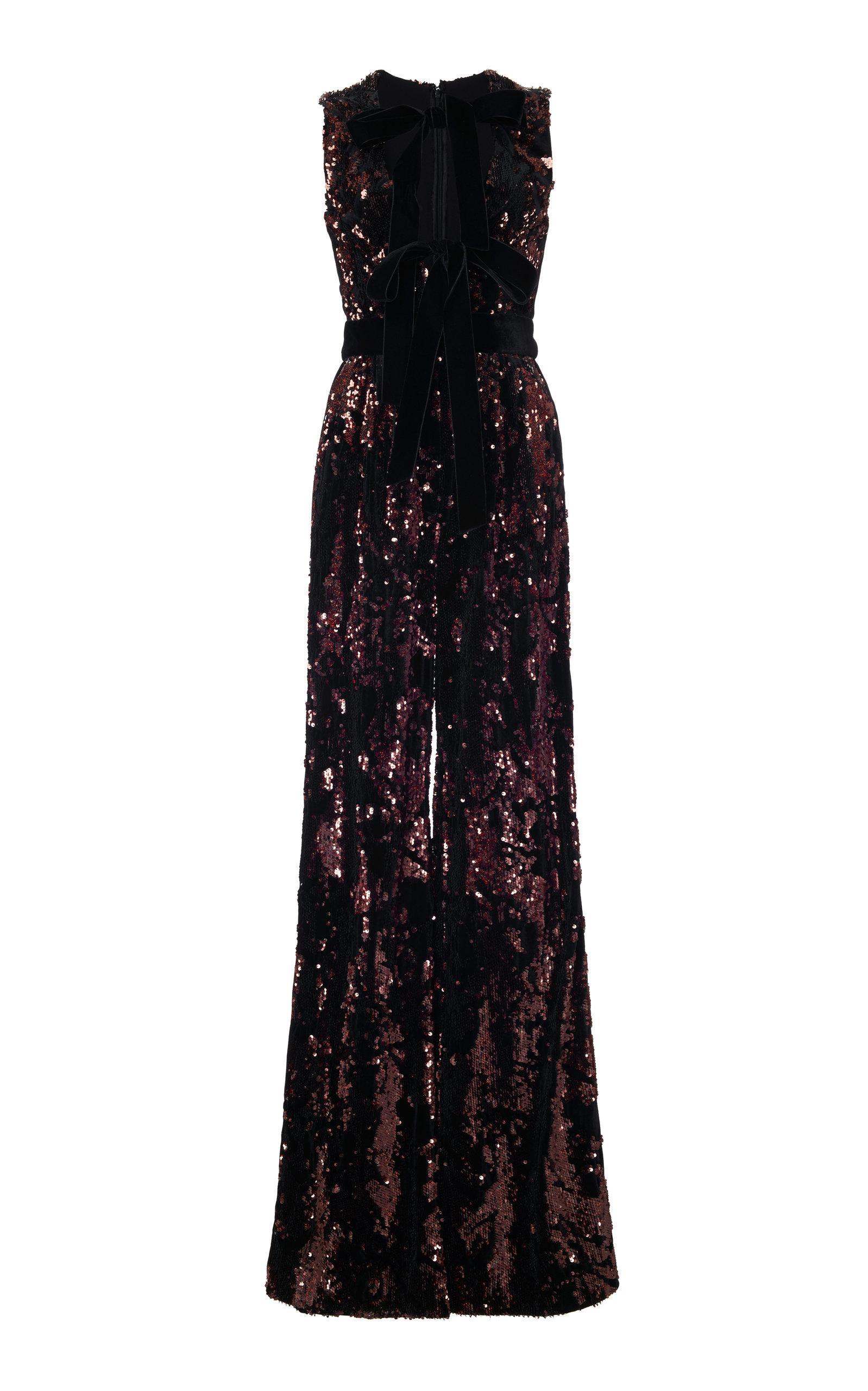 9e0a52f18cd Elie Saab Sleeveless Wide-Leg Paillette Jumpsuit W  Velvet Bow In Burgundy