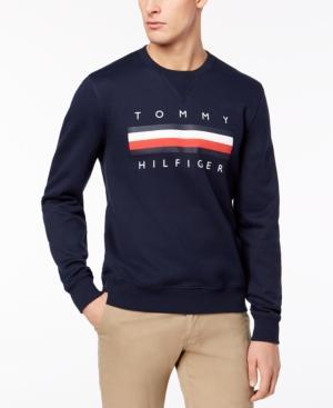 Tommy Hilfiger Men's Graphic-Print Logo Sweatshirt, Created For Macy's In Navy Blazer
