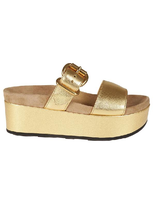 Prada Buckled Wedge Sandals In Oro