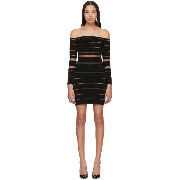 46fd697a Balmain Off-The-Shoulder Ribbed Dress In C0100 Black | ModeSens