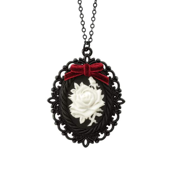 Poporcelain Dark Romance Porcelain Rose Cameo Necklace