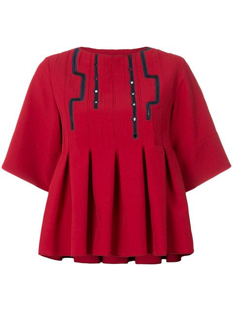 Carven Cropped Pleated Blouse In Red