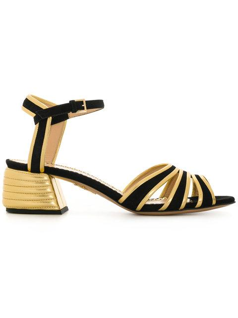 Charlotte Olympia Ribbed Block Heel Sandals - Black