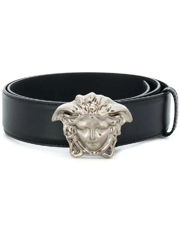 450b15ff70523 Versace Medusa Buckle Leather Belt In Black | ModeSens