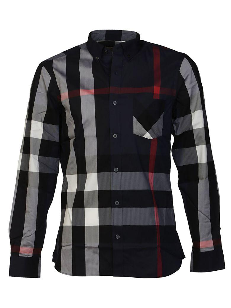 Burberry Checked Shirt In Blu