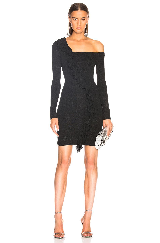 Joostricot One Shoulder Metallic Dress In Black