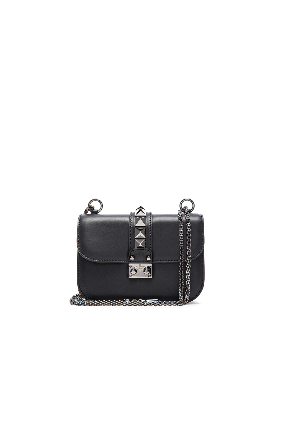 24915e81bc5 Valentino Rockstud - Small Lock Leather Crossbody Bag - Black | ModeSens