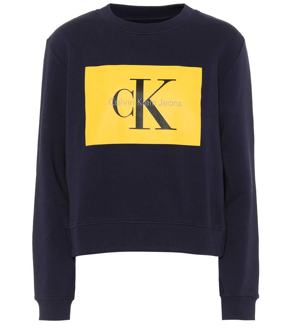 Calvin Klein Jeans Cotton Logo Sweatshirt In Blue