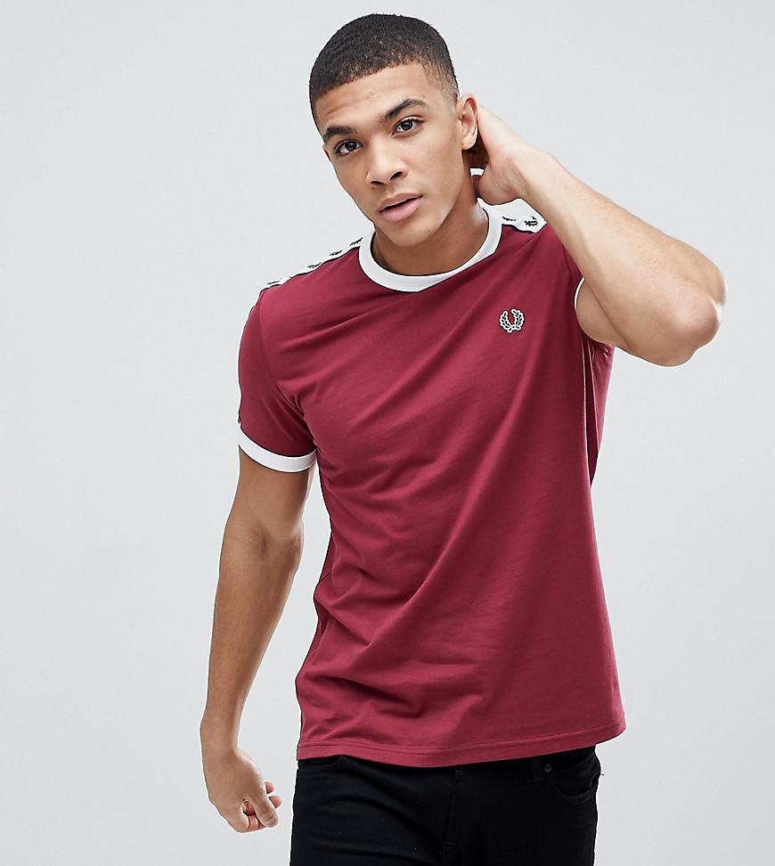 20b9d7ab8 Fred Perry Sports Authentic Taped T-Shirt In Burgundy - Red
